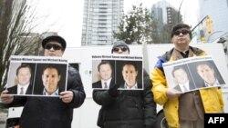 加拿大民眾2019年3月6日在溫哥華法院外呼籲中國釋放被拘押的兩名加拿大公民。 (2019年3月6日)