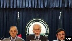 Члены президентской комиссии Афганистана на пресс-конференции