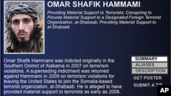 "In this undated image released by the FBI, Omar Shafik Hammami is shown on the FBI's list of ""most wanted terrorists."""