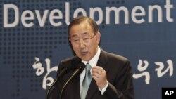 Tổng thư ký LHQ Ban Ki-moon phát biểu tại Seou, ngày 13/8/2012