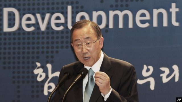 UN Secretary General Ban Ki-moon speaks during a ceremony to launch the Development Alliance Korea, a coalition of local civic groups to promote overseas development aid, at the Foreign Ministry in Seoul, South Korea, August 13, 2012.