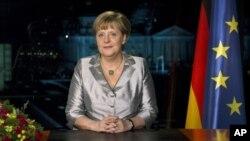 Thủ tướng Đức Angela Merkel đọc bài diễn văn hàng năm, ở thủ đô Berlin, Đức 30/12/12