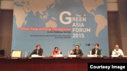 Tuy Sereivathana, country director of Fauna and Flora International Cambodia, speaks at the 4th Green Asia Forum in Korea in 2015. (Courtesy Image)
