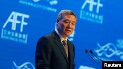 2015年1月19日中国证券监管最高官员,证监会主席肖钢在香港讲话。他在2016年2月被撤职。