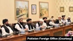 Делегация афганских талибов на переговорах (архивное фото)