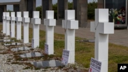 Crosses stand marking the graves of fallen soldiers at the Argentine memorial cemetery containing the remains of Argentine combatants killed during the 1982 war between Argentina and Britain, in Darwin, on Falkland Islands, March 14, 2017.