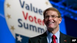 "FILE - Family Research Council President Tony Perkins, speaking after the Supreme Court's ruling on the right of same-sex couples to marry, said, ""It is folly for the court to think that it has resolved a controversial issue of public policy."""