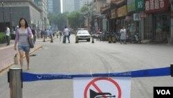 考点外的街道已被封锁