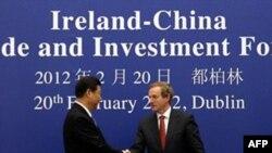 Phó Chủ tịch Trung Quốc Tập Cận Bình (trái) bắt tay cùng Thủ tướng Ireland Enda Kenny tại Dublin, ngày 20/2/2012