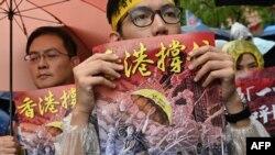 台灣街頭抗議聲援香港反送中抗爭。