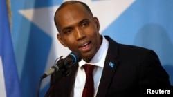 FILE - Somalia's Prime Minister Hassan Ali Khaire addresses lawmakers in Mogadishu, Somalia, March 1, 2017.