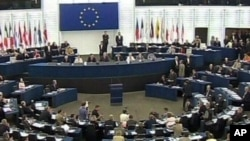 European Parliament in session, Strasbourg, France, video still