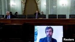 推特總裁多西2020年10月28日通過視訊在參議院作證(路透社)