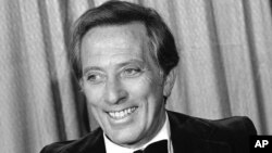 FILE - This Feb. 23, 1978 file photo shows performer and host Andy Williams at the Grammy Awards in Los Angeles.
