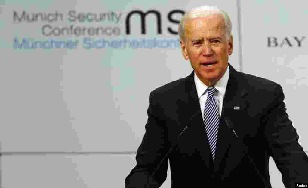 U.S. Vice President Joe Biden gives a speech at the 49th Conference on Security Policy in Munich February 2, 2013. Senior U.S., Russian and U.N. officials, along with the leader of the Syrian opposition, were all expected in Munich on Saturday, providing