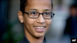 Ahmed Mohamed, the 14-year-old who was arrested at MacArthur High School in Irving, Texas, after a homemade clock he brought to school was mistaken for a bomb, speaks during an interview with the Associated Press, Oct. 19, 2015, in Washington.