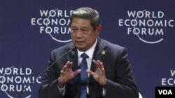 Presiden Susilo Bambang Yudhoyono memberikan pidato pembukaan pada Forum Ekonomi Dunia untuk Asia Pasifik di Jakarta (12/6).