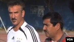 علی عسکر لعلی و همایون کارگر مربی و سر مربی تیم ملی فوتبال افغانستان