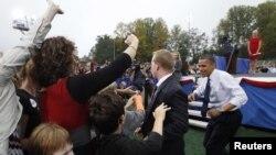 奧巴馬在維吉尼亞州進行競選活動