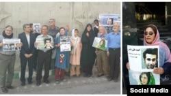سیمین عیوضزاده با حضور در تجمعات اعتراضی به حکم فرزندش امید علیشناس اعتراض میکرد