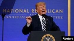 Tổng thống Donald Trump phát biểu tại bữa ăn tối tháng Ba hàng năm của Ủy ban Đảng Cộng hòa Toàn quốc ở Washington, ngày 20 tháng 3, 2018.