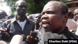 Former SPLM secretary general Pagan Amum speaks to reporters after a South Sudanese judge released him and three others who were detained more than four months ago for allegedly attempting a coup.
