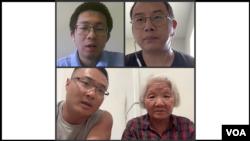 程万里(左上)、邱孝斌(右上)、金鹏和母亲文彦清(下)讲述去国离乡的原因