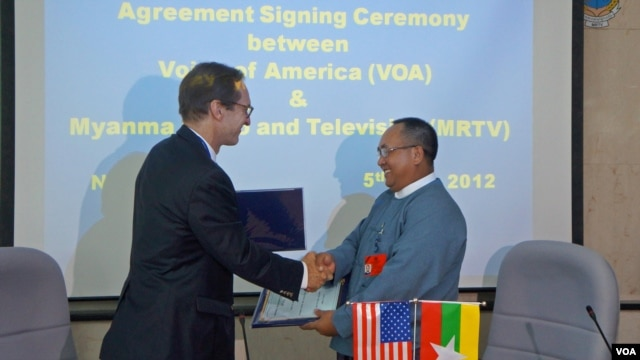 VOA director David Ensor and Thein Aung
