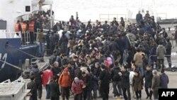 Người Nam Triều Tiên được bao quanh bởi các thân nhân và giới truyền thông khi họ đến cảng Incheon, phía tây Seoul, Nam Triều Tiên, 24/11/2010