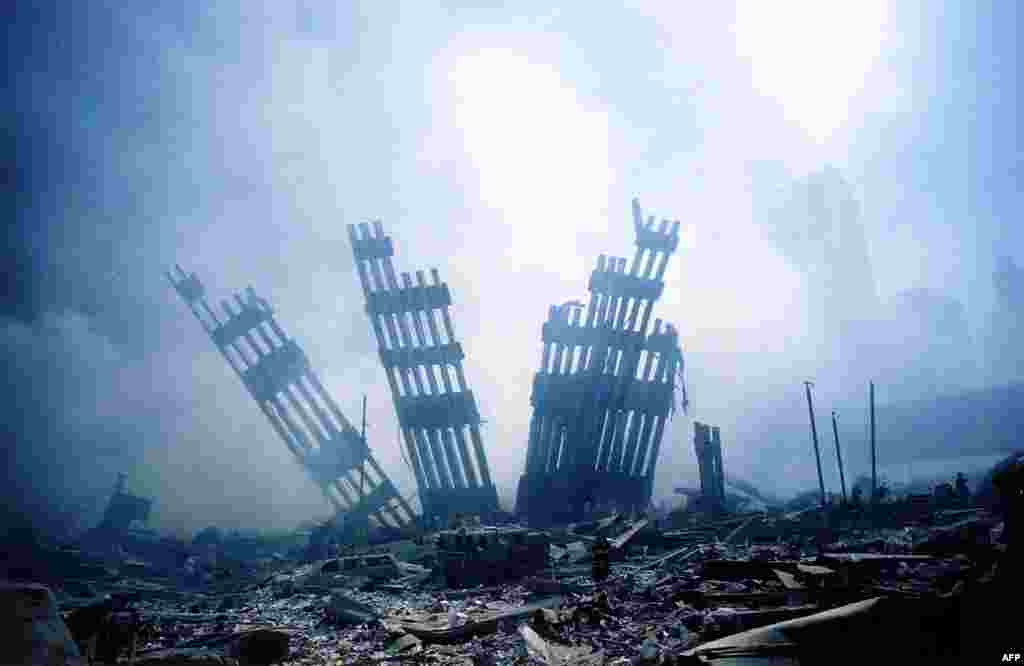 The rubble of the World Trade Center smoulders following a terrorist attack.