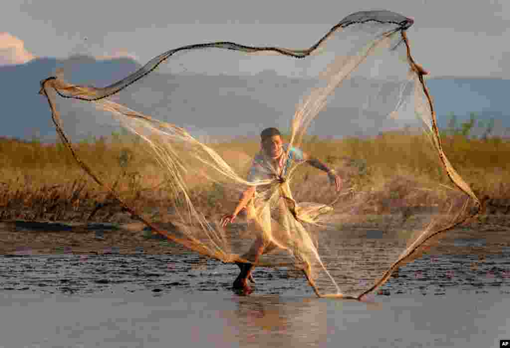 August 30: An Indian villager throws a fishing net into the River Brahmaputra at Suwalkuchi, India. (AP Photo/ Anupam Nath)