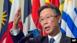 Japan's U.N. Ambassador Motohide Yoshikawa speaks during a press conference after attending a Security Council meeting on North Korea, Jan. 6, 2016 at U.N. headquarters.