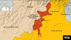 Peta propinsi Khyber Pakhtunkhwa, Pakistan (Foto: dok). Serangan bom di wilayah ini menewaskan dua orang, temasuk politisi Pakistan Adnan Wazir, Minggu (31/3).