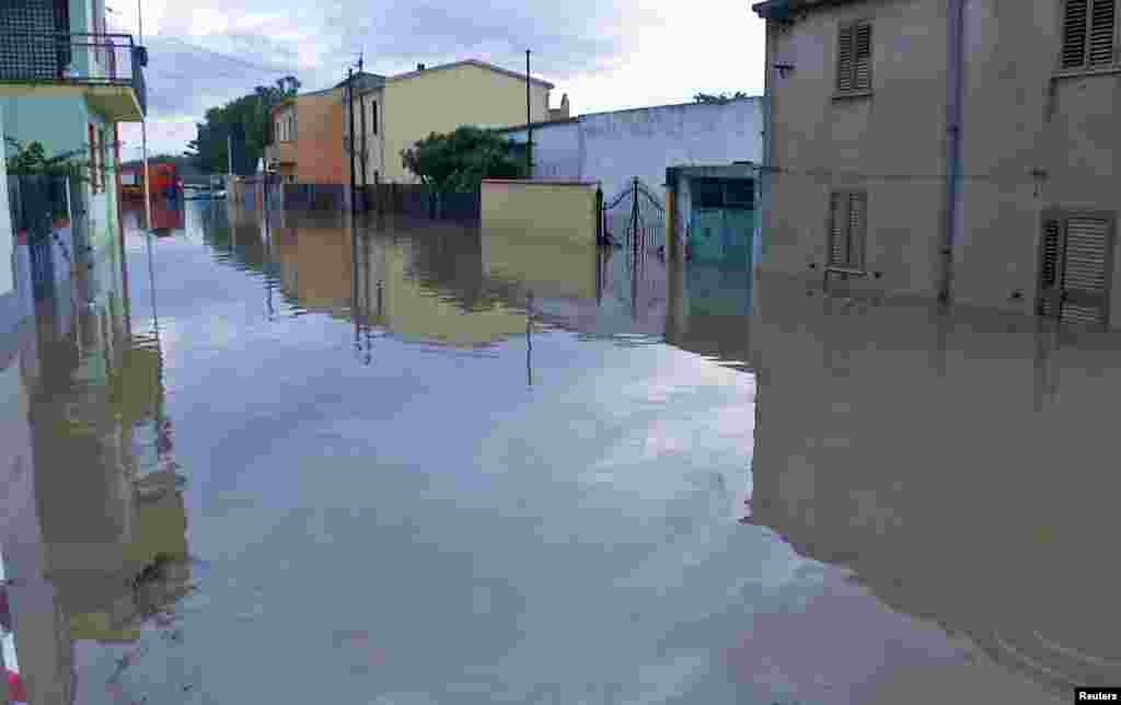 A flooded street in San Gavino Monreale, Sardina, Italy, Nov. 18, 2013.