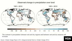 Arazi üzerindeki yağışta gözlenen değişim, 1901 - 2010