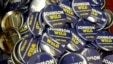 Campaign buttons for Libertarian presidential candidate Gary Johnson and vice presidential candidate Bill Weld at the National Libertarian Party Convention in Orlando, Fla., May 27, 2016.