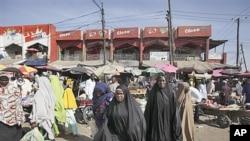 Wata kasuwa a birnin Maiduguri,fadar jihar Borno.