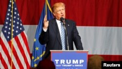 Kandidat presiden AS partai Republik Donald Trump berbicara di acara kampanyenya di negara bagian Indiana. (Foto: dok.)