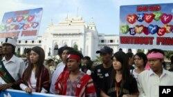 1일 거리 행진에 나선 버마의 인권운동가들. (자료사진)