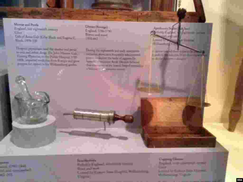 The mortar and pestle (left) were used to mix and refine drugs, the syringe (center) was used to administer laxatives to rid the body of harmful or excessive fluids. Doctors carried the scales (right) as they made rounds so that they could weigh the correct dosage of medicine.