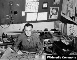 1942년에 미 육군에 입대한 스탠 리가 군대 내에서 그림을 그리고 있다.