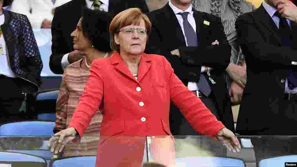 Shugabar Jamus Angela Merkel da Kofin Duniya, Rio de Janeiro, 13 Yuli, 2014.