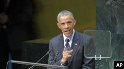 美国总统奥巴马在2014年联合国大会气候峰会上讲话