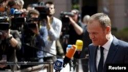 23일 벨기에 브뤼셀에서 열린 유럽연합 정상회의장에 도날드 터스크 정상회의 상임의장이 도착했다.
