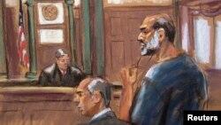 Hình được vẽ lại từ đoạn video chiếu Suleiman Abu Ghaith, con rể của Osama bin Laden, đang bị xét xử tại Tòa án ở Manhattan, New York, 8/3/2013.