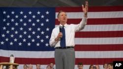 Kandidat calon presiden AS, Gubernur Ohio John Kasich, dalam kampanye di Syracuse, New York (16/4). (AP/John Minchillo)