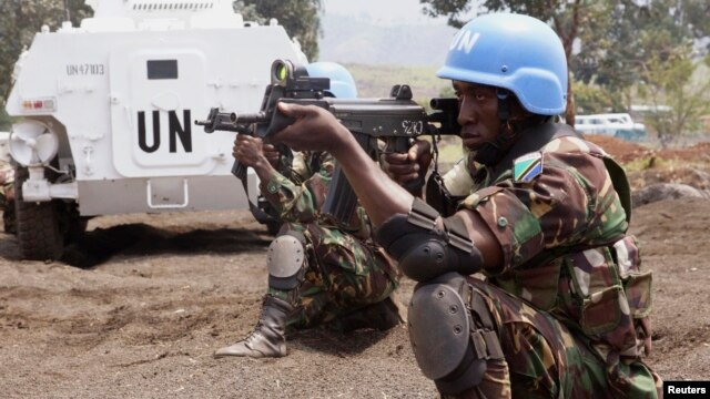 Tanzanian Forces of the U.N. Intervention Brigade attend a training session outside Goma in the eastern Democratic Republic of Congo, Aug. 9, 2013.