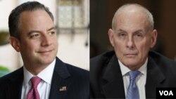 جان کلی (راست) وزیر امنیت داخلی و رینس پریباس رئیس کارکنان کاخ سفید تاکید کرده اند که دارندگان گرین کارت برای ورود به آمریکا ممنوع نیستند.