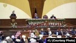 محمداشرف غنی رئیس جمهور افغانستان امروز در شورای ملی این کشور صحبت میکرد.