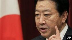 Thủ tướng Nhật Bản Yoshihiko Noda nói chuyện tại một cuộc họp báo ở Tokyo hôm thứ Sau 16/11/12